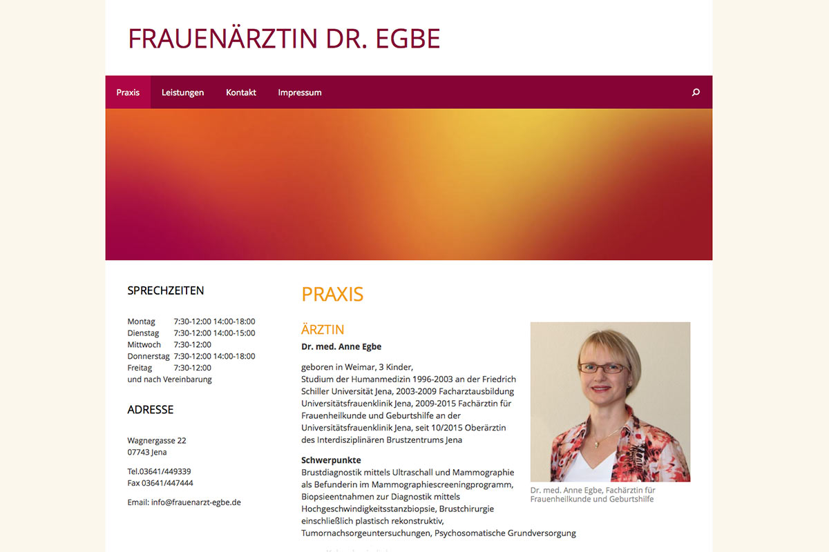 Website für die Frauenärztin Dr. Egbe
