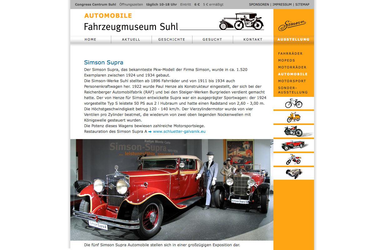 Website Für das Fahrzeugmuseum Suhl