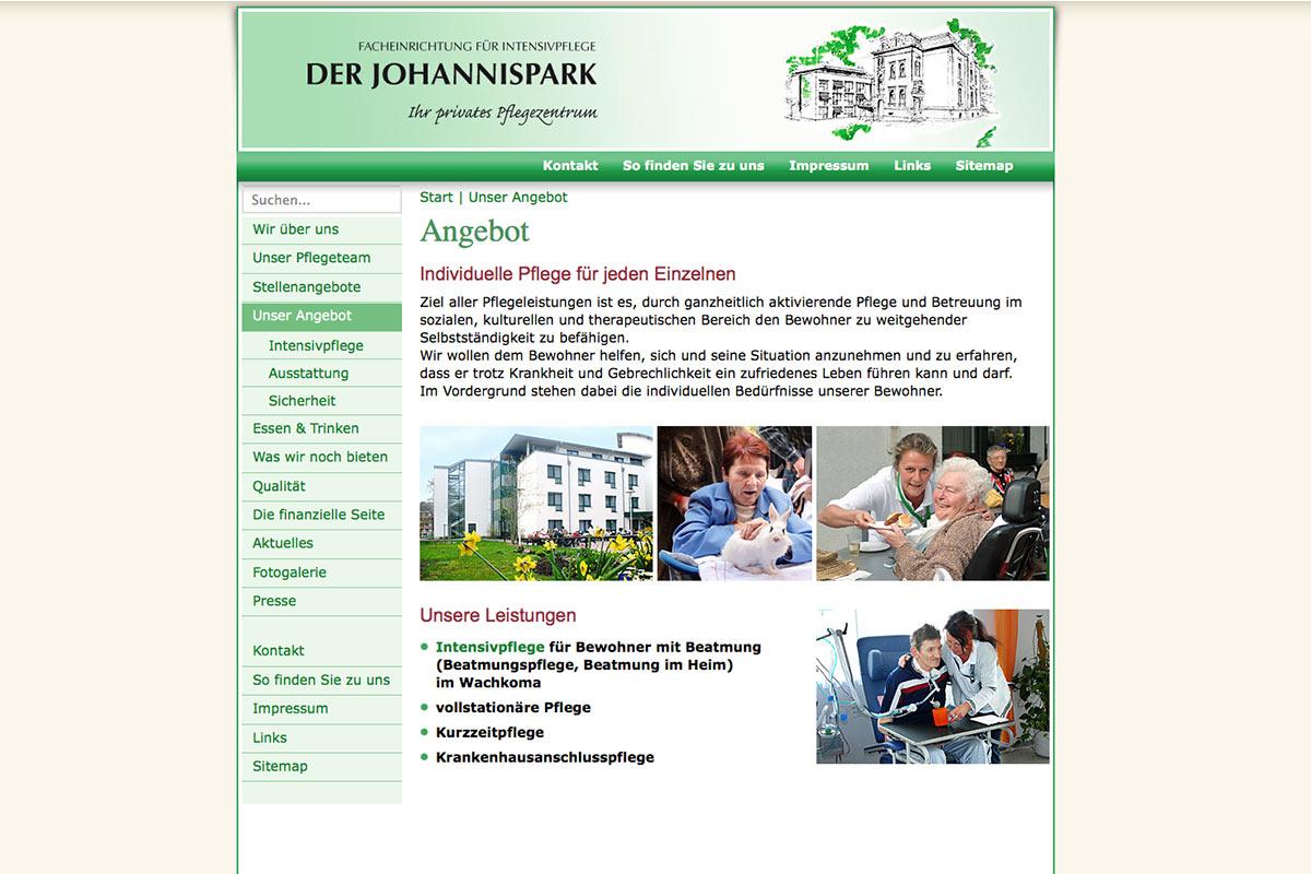 Website für Johannispark