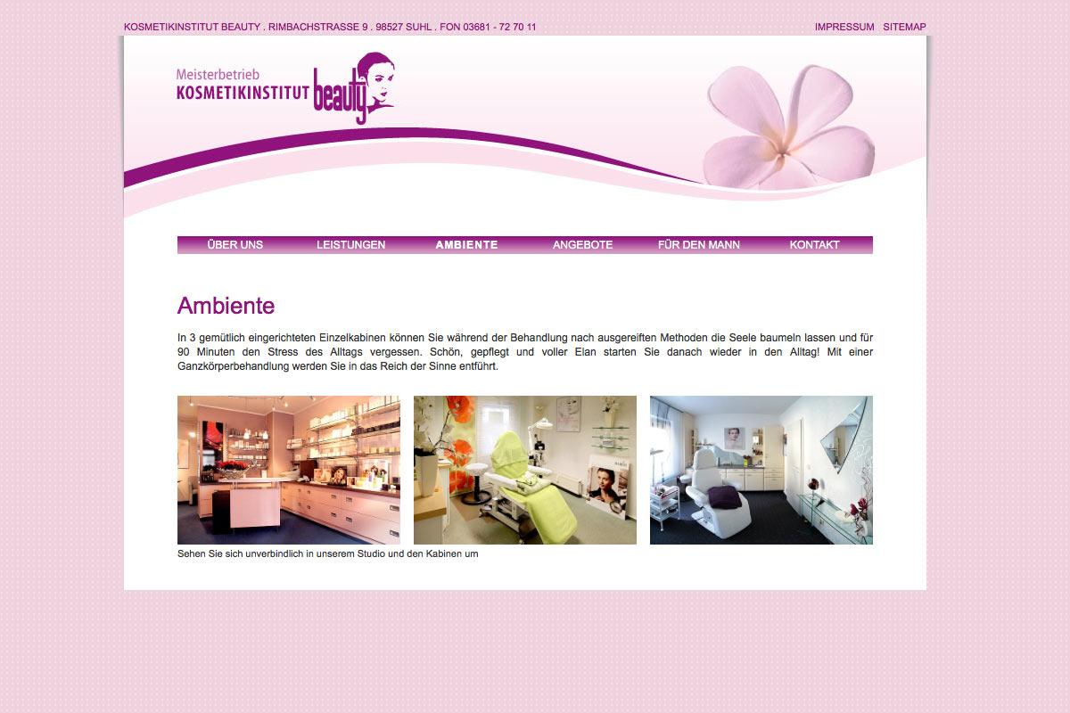Website für das Kosmetikinstut Beauty