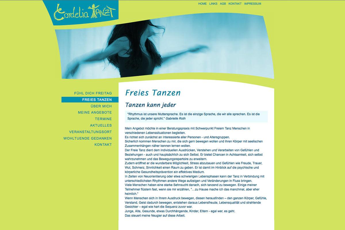 Entwurf Website für eine Tanz- und Ausdruckstherapeutin, 2012